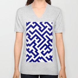 White and Navy Blue Diagonal Labyrinth Unisex V-Neck