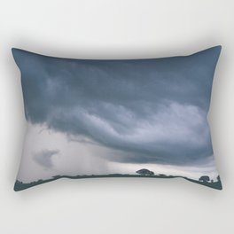 Evening thunder storm and clouds over rural scene. West Acre, Norfolk, UK. Rectangular Pillow