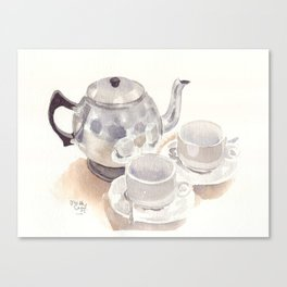 Tea set, watercolour Canvas Print