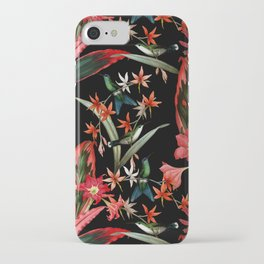 Vintage Midnight Tropical Summer Flower And Hummingbird Garden iPhone Case