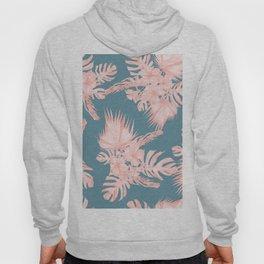 Tropical Palm Leaves Hibiscus Flowers Pink Blue Hoody