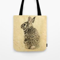 rabbit Tote Bags featuring Rabbit by Anna Shell