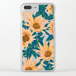 Blush Sunflowers Clear iPhone Case