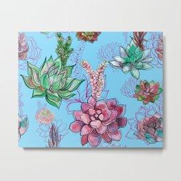 Kitschy Cacti Pattern on Sea Blue  Metal Print