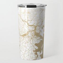 Boston White and Gold Map Travel Mug