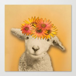 Daisies Sheep Girl Portrait, Mustard Yellow Texturized Background Canvas Print