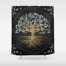 Tree of life - Yggdrasil - Gold and Painted Texture Shower Curtain