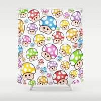 Iddy Diddy Mushrooms  Shower Curtain