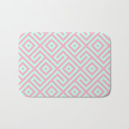 Geometrical pink teal abstract argyle diamond pattern Bath Mat