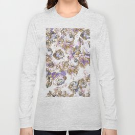 Bohemian vintage rustic brown lavender floral Long Sleeve T-shirt