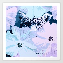 Behind the scenes - big cat hiding behind the flowers - lovely colors Art Print