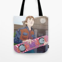 marty mcfly Tote Bags featuring Marty McFly by Lesley Vamos