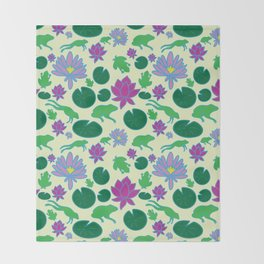 Jumping Frogs of Lily Pad Valley Throw Blanket