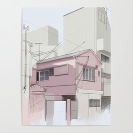Japanese Cityscape in the Afternoon Poster