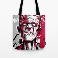 frankenstein Tote Bags featuring frankenstein by don motta