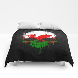 Flag of Wales on a Chaotic Splatter Skull Comforters
