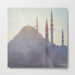 Suleymaniye Mosque and Fog Metal Print