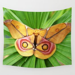 Yellow Magenta Silkworm Moth on Tropical Palm Plant Wall Tapestry