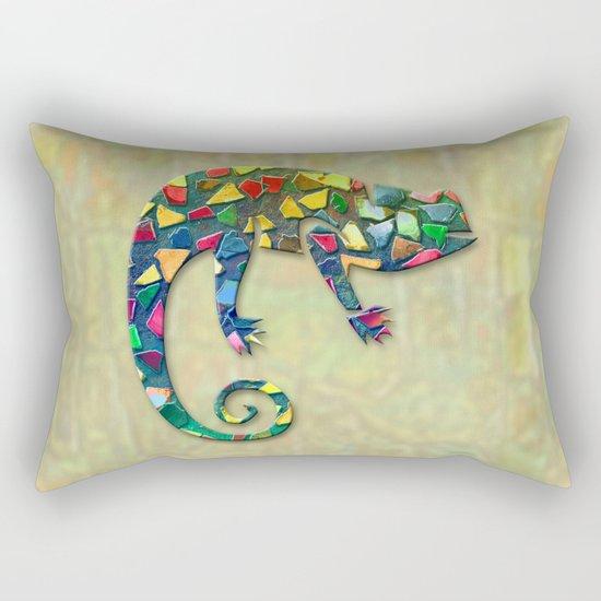 Animal Mosaic - The Chameleon Rectangular Pillow