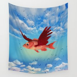 The flying fish and drew drops Wall Tapestry