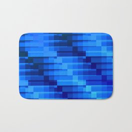 Buildings At Night In Blue Modern Abstract Bath Mat