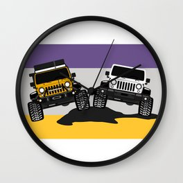 [JEEP COUPLE] yellow+white Wall Clock