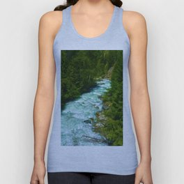 Here Be Bears - Black Bear and Wilderness River Unisex Tank Top