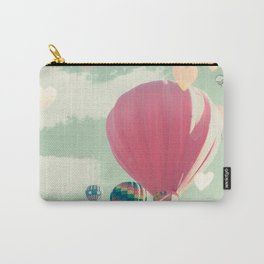 Hot air balloon nursery and heart bokeh on pale blue Carry-All Pouch