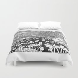 Zentangle Vermont Landscape Black and White Illustration Duvet Cover