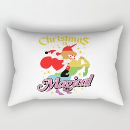 Christmas Is Magical Santa Claus Riding Unicorn Rectangular Pillow