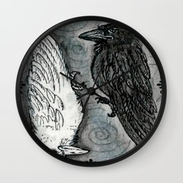 Raven Totem * Opposites Wall Clock