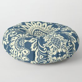 damask in white and blue vintage Floor Pillow