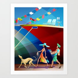COUPLE AT A BOAT SHOW Art Print