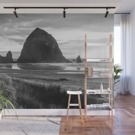 Cannon Beach Sunset - Black and White Nature Photography Wall Mural
