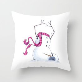 Headless Snowman (homage to B Watterson) Throw Pillow