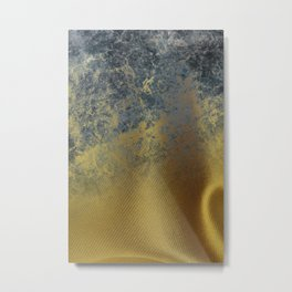 Gold Fabric Into Blue Marble Metal Print