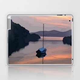Boat At Bozburun At Sunset Vector Image Laptop & iPad Skin