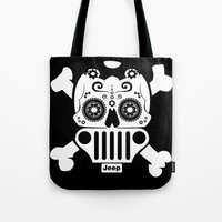 jeep Tote Bags featuring Jeep Logo Sugar Skull by Black Paw Canvas