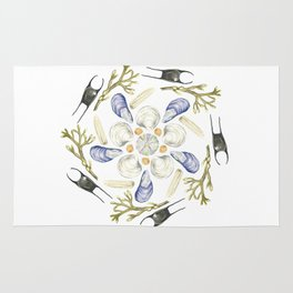 Tide Pool Beach Mandala 1 - Watercolor Rug