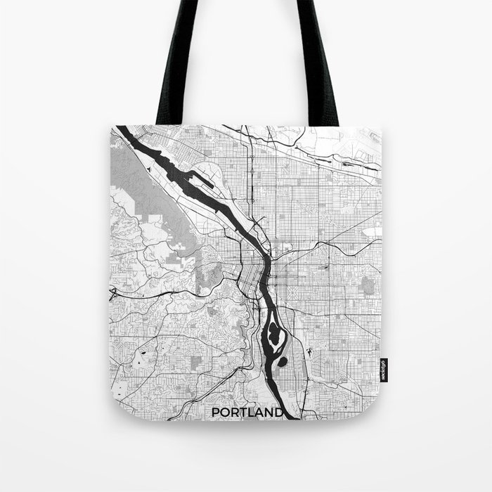 Portland Map Gray Tote Bag
