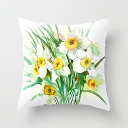 White Daffodils, spring flowers yellow green spring floral design Throw Pillow