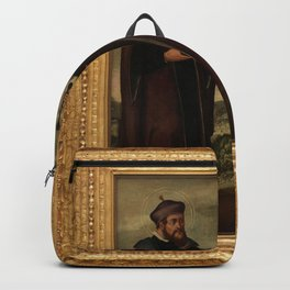 SS. Cosmas and Damian in a landscape. Oil painting, 17th c. v Backpack