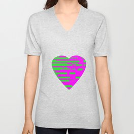 Glitching Hearts — Pink and Green Unisex V-Neck