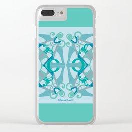 Support Love Mandala x 2 - Aqua/Blue Clear iPhone Case