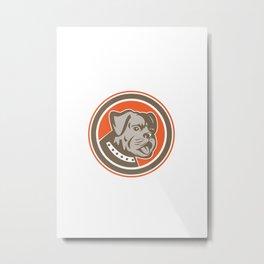 Bulldog Dog Mongrel Head Mascot Circle Metal Print