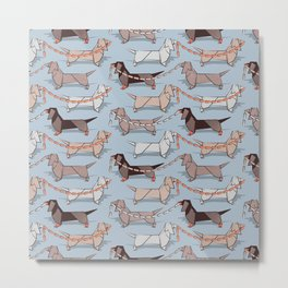Origami Dachshunds sausage dogs // pale blue background Metal Print