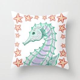 Seahorse smile Throw Pillow