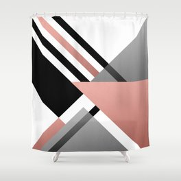Sophisticated Ambiance - Silver & Rose Gold Shower Curtain