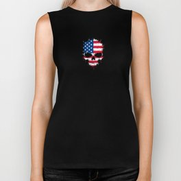Flag of The United States on a Chaotic Splatter Skull Biker Tank