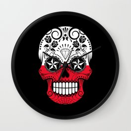 Sugar Skull with Roses and Flag of Poland Wall Clock